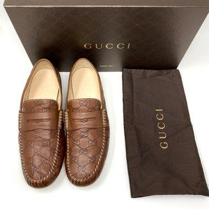 GUCCI Guccissima Brown GG Leather Driver Loafer
